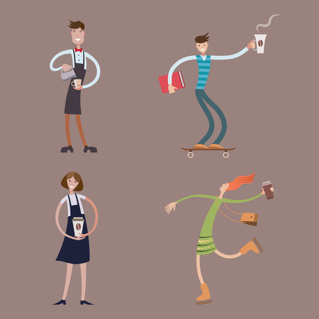 Boys and girls with cups of coffee, cartoon character, barista, coffee time, take away, vector illustration.