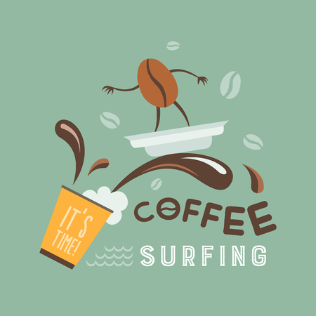 Coffee bean rides on a wave of coffee on the lid. Comic vector illustration. Çizim