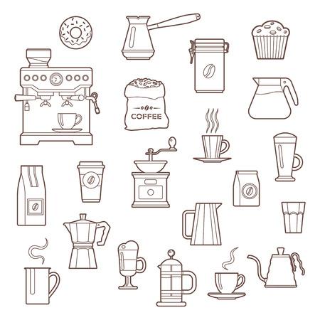 Coffee outline icon set on white background Çizim