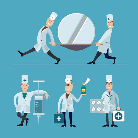Medical staffs flat design illustrations set.