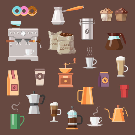 Coffee color icon set. Çizim