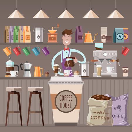 barista: Design of coffee shop, coffee bar, counter, background, barista.