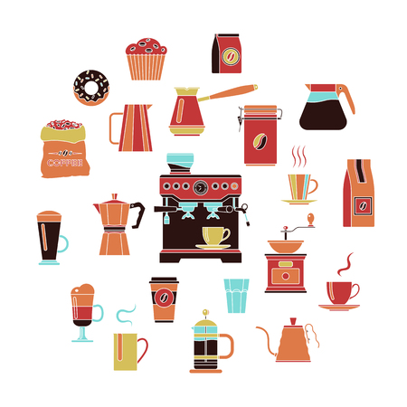 Coffee color icon set on a white background. Çizim