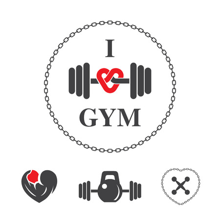 Fitness label for poster or t-shirt print with lettering, chain and dumbbell.