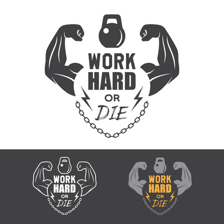 Fitness label for poster or t-shirt print with lettering, hands, chain and dumbbell.