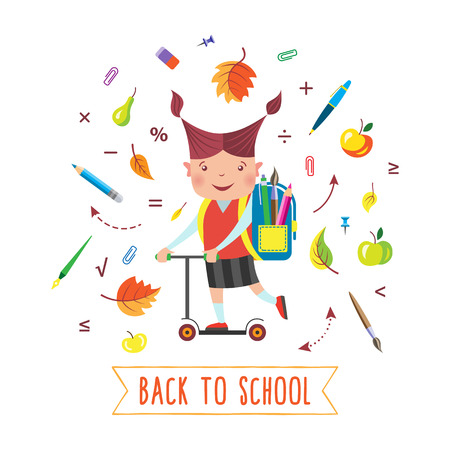 School girl with backpack riding kick scooter to school. Flat color vector illustration. Isolated objects on a white background.