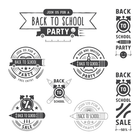 Back to school invitation and sale vector emblems design.