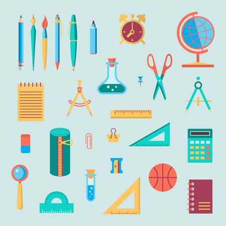 Back to school flat design modern color vector icon set. School supplies : schoolbook, notebook, pen, pencil, brush, scissors, ball, pencil case, globe, ruler etc. Çizim
