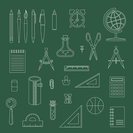 Back to school line design monochrome vector icon set. School supplies : schoolbook, notebook, pen, pencil, brush, scissors, ball, pencil case, globe, ruler etc.