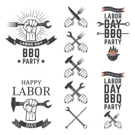 Labor Day BBQ Party vector emblems.