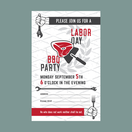 Labor Day BBQ party background. Vector illustration. Barbecue poster, brochure or flyer template.