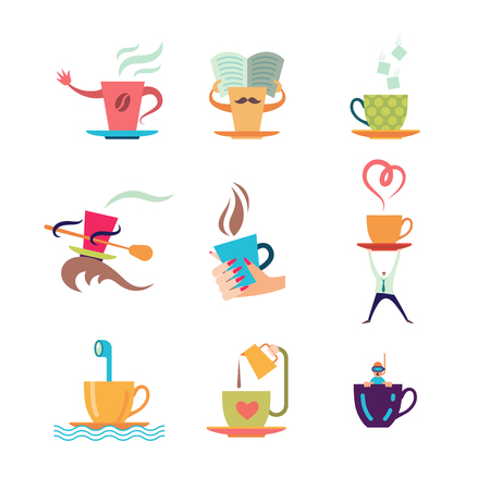 Coffe and tea cup color icon set. Vector illustration.
