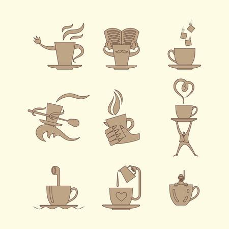 Coffe and tea cup monochrome icon set. Vector illustration. Çizim