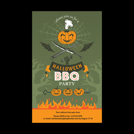 Halloween BBQ party invitation card. Vector template for card, poster.