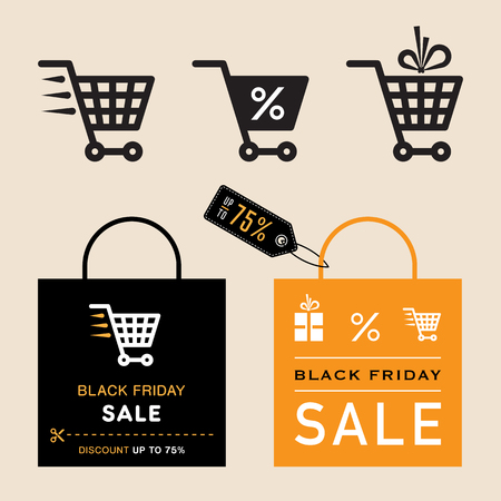 Black friday sale icons. Shopping cart and bag. Vector.