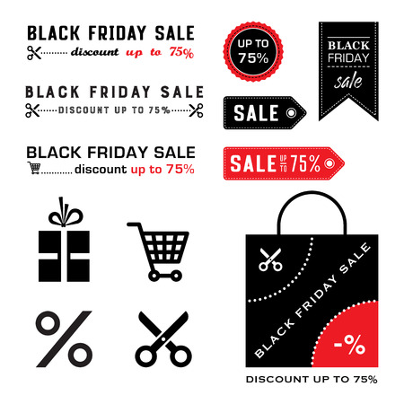 Black friday sale icons. Shopping cart, bag, label, gift and scissors. Vector.