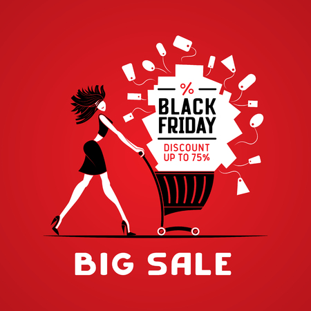 Vector illustration black friday big sale. Girl with shopping cart.