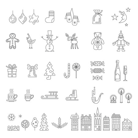 Christmas set. Outline vector icon collection on a white background.