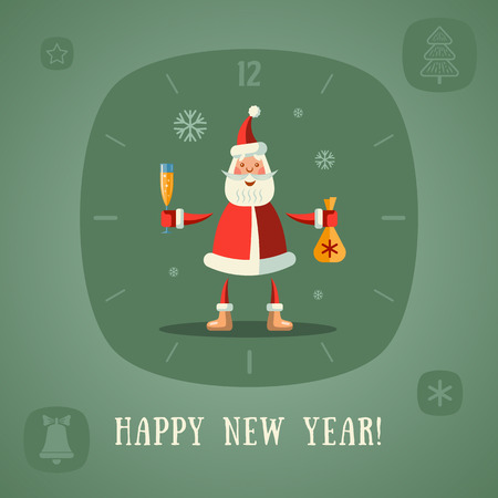 Happy New Year! Santa Claus with a glass of champagne and gifts. Vector flat illustration.