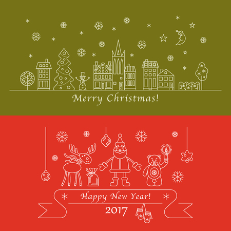 Merry Christmas and happy new year vector linear greeting card or banner.