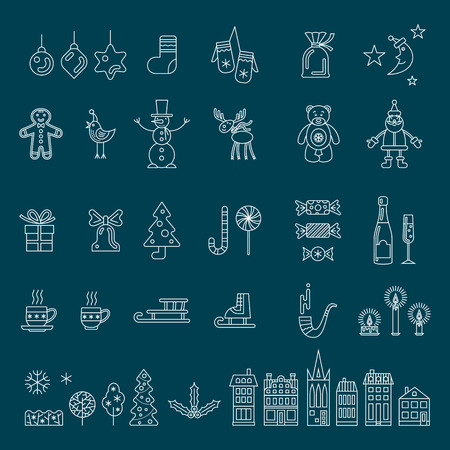 Christmas set. Outline vector icon collection.