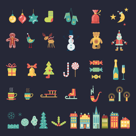 Christmas and new year icons set. Color vector icons collection.