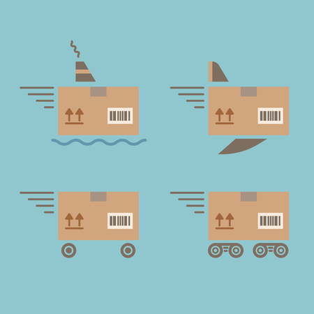 Delivery service. Delivery methods: car, fly, train, ship. Vector color flat icons set.