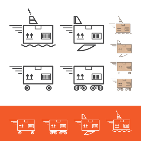 Delivery service. Delivery methods: car, fly, train, ship. Vector linear icons set. Çizim