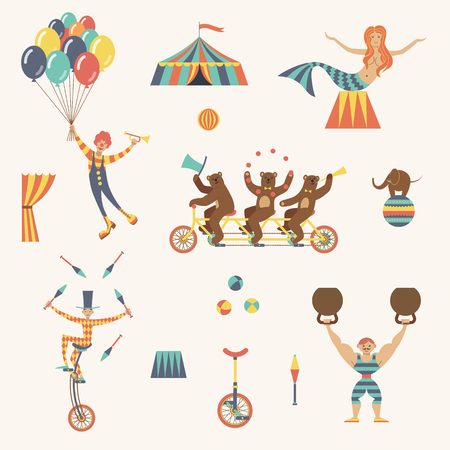 Circus set with clown, juggler, strong man, bears, mermaid and tent on a white background. Vector illustration. Çizim