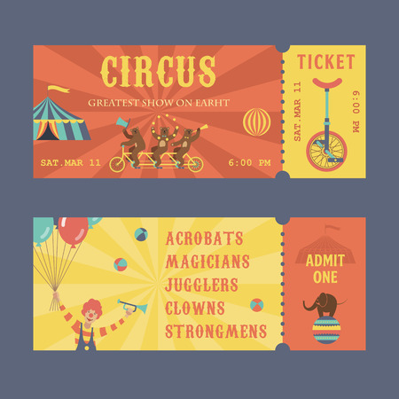 Set circus show horizontal tickets front and back side vector templates in flat style with sample text. Çizim