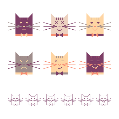 Color and linear cats heads vector set. Cute cat emotions. Isolated objects on white background.