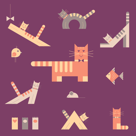 Vector cats flat icons set.