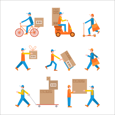 Vector set of illustrations in flat style on a white background. Man courier using different kinds of transport: motorbike, bicycle, cart and scooter.