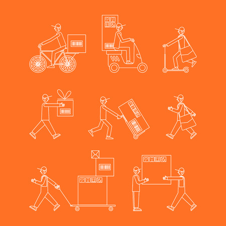 Vector set of illustrations in linear style on a orange background. Man courier using different kinds of transport: motorbike, bicycle, cart and scooter.