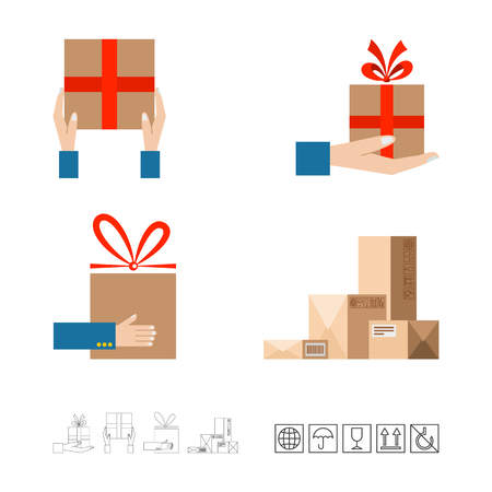Hands with postal box. Delivery concept. Flat style vector illustration.