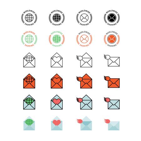 Mail service vector icon set. Çizim