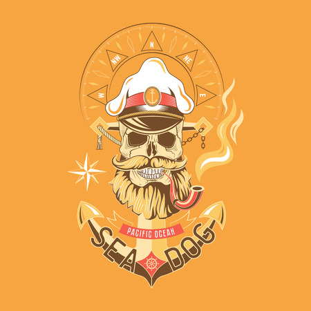 Sea Dog vector color emblem with a skull in a cap with a smoking pipe on the background of the anchor.