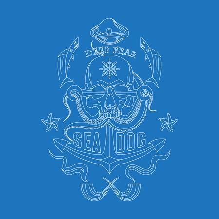 Deep Fear Sea Dog vector linear sea emblem with a skull, tentacles of an octopus, an anchor, starfish and sharks. Çizim