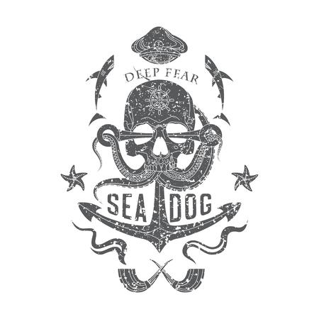 Deep Fear Sea Dog vector monochrome sea emblem with a skull, tentacles of an octopus, an anchor, starfish and sharks. Çizim