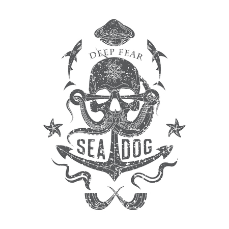 Deep Fear Sea Dog vector monochrome sea emblem with a skull, tentacles of an octopus, an anchor, starfish and sharks. Illustration