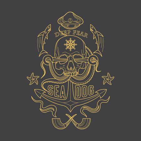 Deep Fear Sea Dog vector linear marine emblem with a skull, tentacles of an octopus, an anchor, starfish and sharks. Çizim