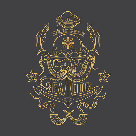 Deep Fear Sea Dog vector linear marine emblem with a skull, tentacles of an octopus, an anchor, starfish and sharks. Illustration