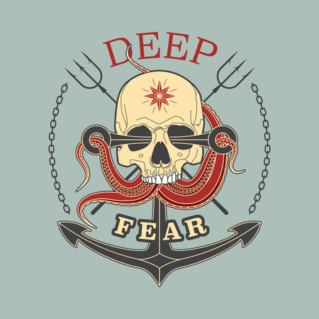 Deep Fear Skull vector color emblem with a skull, tentacles of an octopus and anchor.