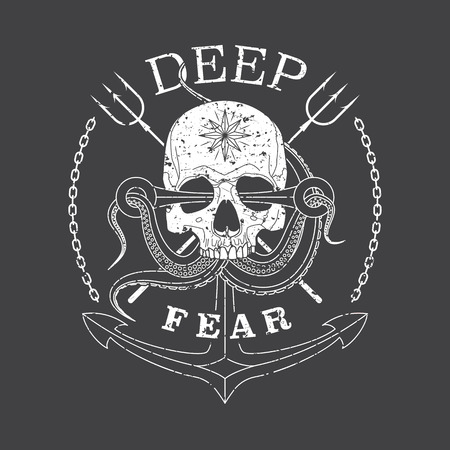 Deep Fear Skull vector grunge monochrome emblem with a skull, tentacles of an octopus and anchor. Çizim