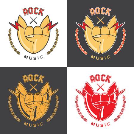 Rock hand vector emblem. Color and monochrome.