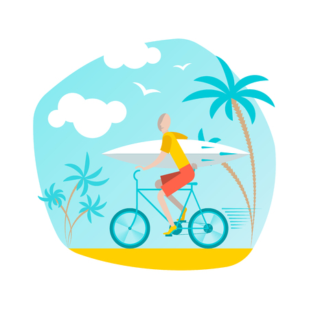 Bicyclist with surfboard. Vector flat illustration.