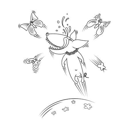 Joyful dog playing with butterflies. Vector line illustration.