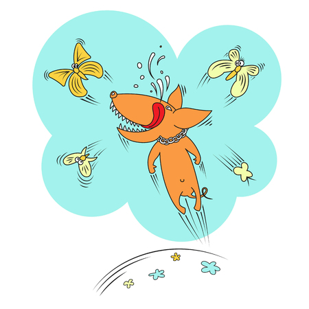 Joyful dog playing with butterflies. Vector color illustration.
