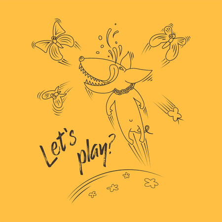 Joyful dog playing with butterflies. Caption: Lets play? Vector line illustration.