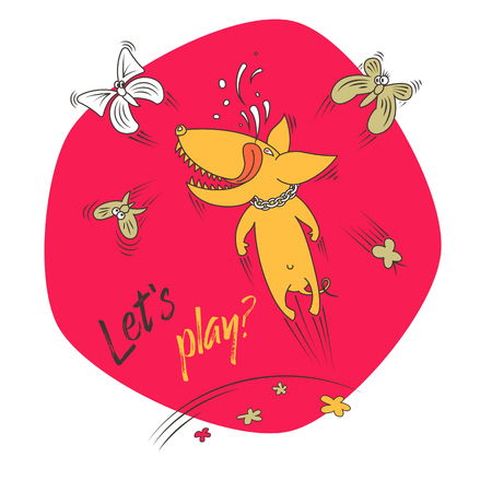 Joyful dog playing with butterflies. Caption: Lets play? Vector color illustration.